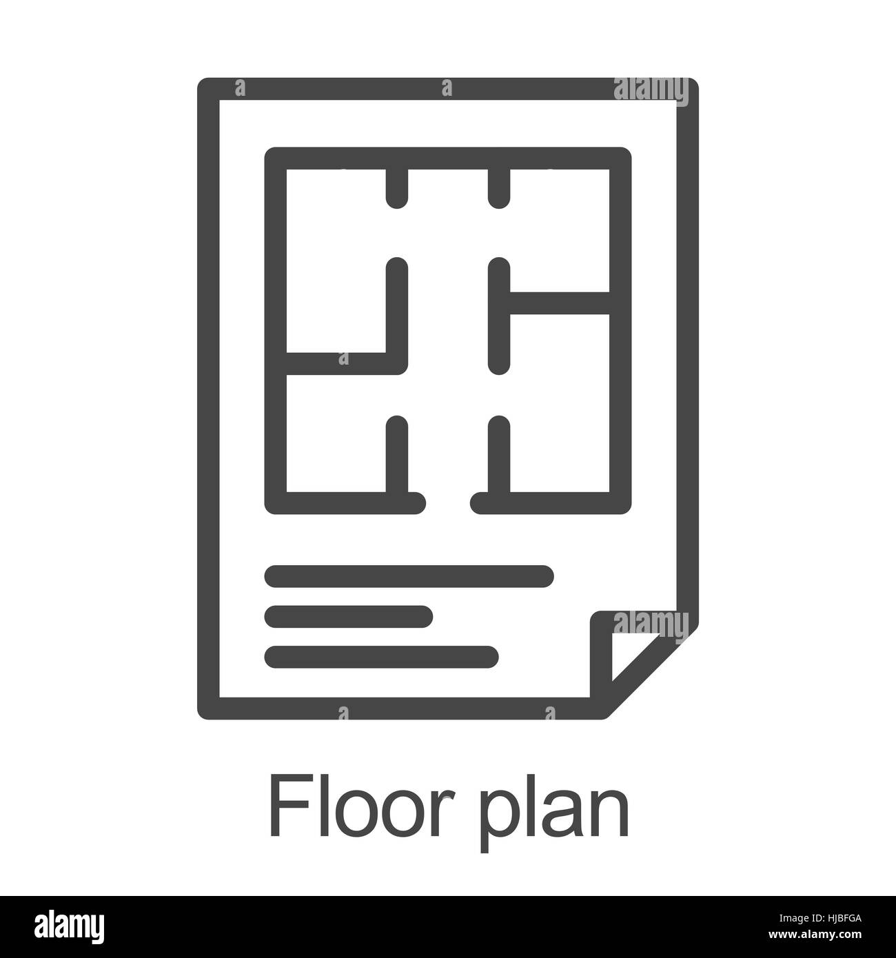 Flat Plan Flat Floor Plan Icon Stock Vector Art Illustration Vector Image