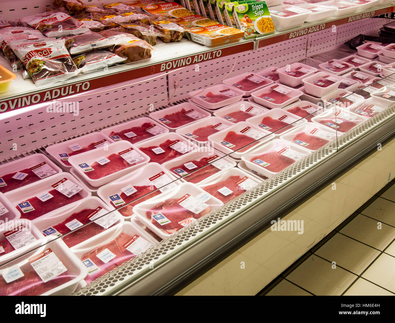 Carrefour Cuisine Bovine Red Meat Area At The Carrefour Market Store Cremona Italy
