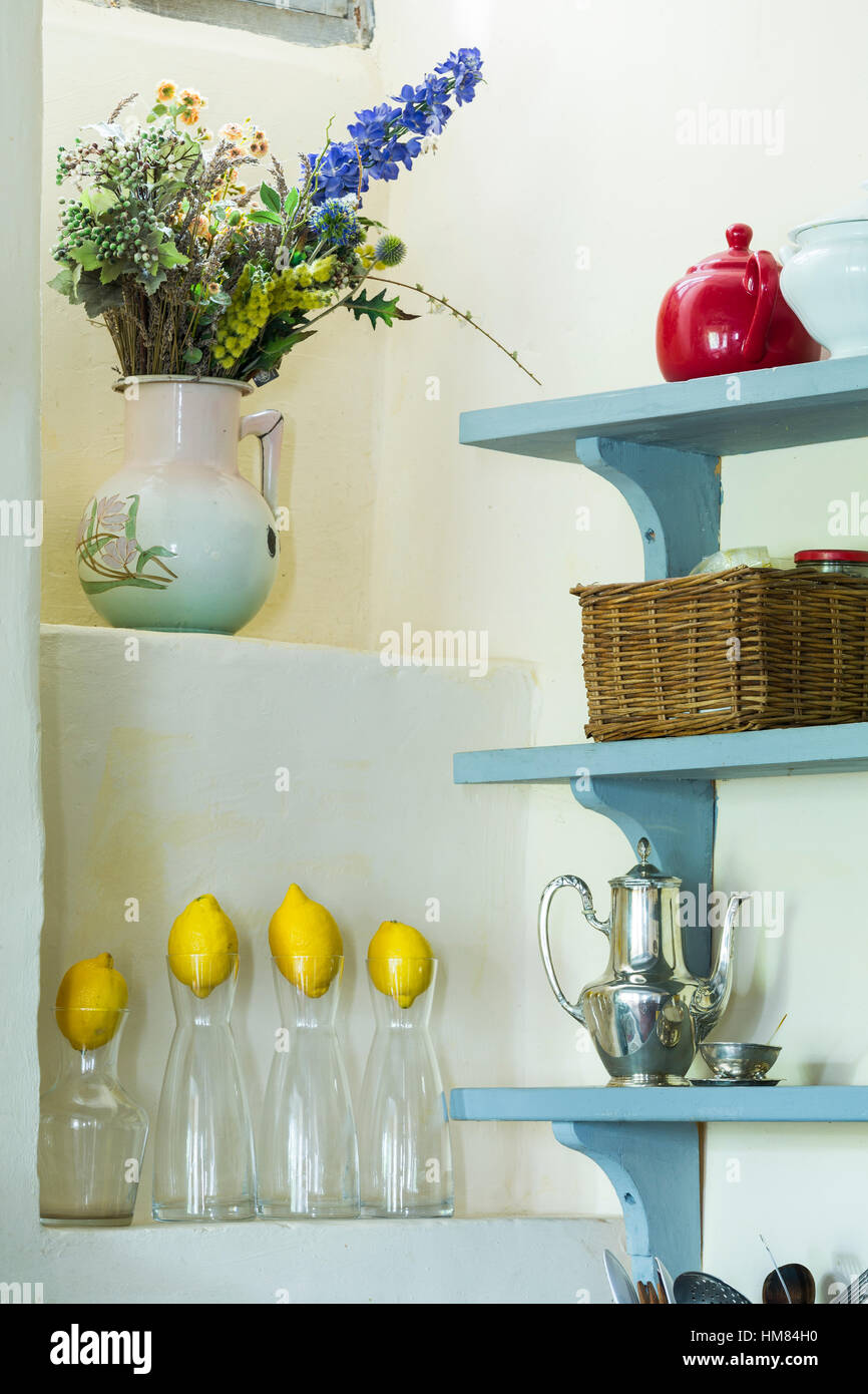Country Kitchen Shelves French Country Kitchen Shelves With Lemons Stock Photo 132944924