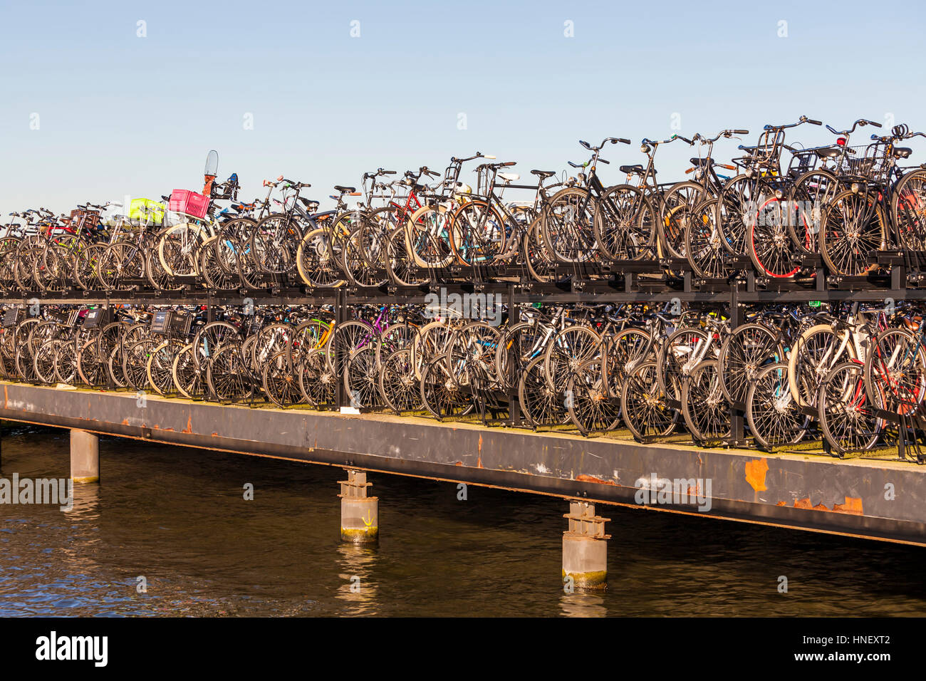Parking Garage Bike Rack Bicycle Parking Lot On The River Het Ij Many Bicycles In The Bike