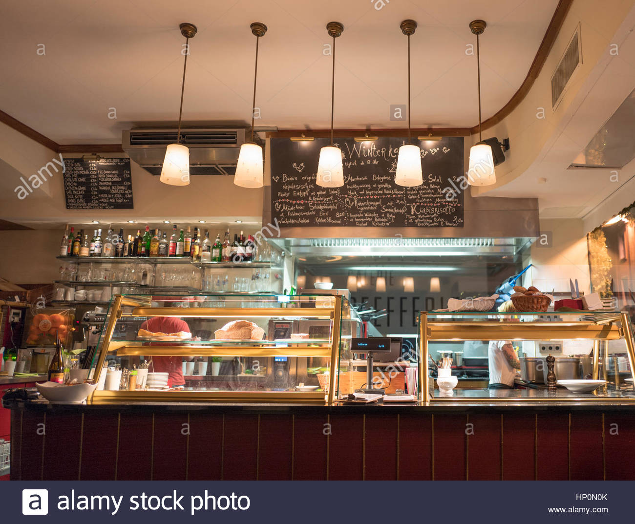 Bakery Display Cabinet Interior Cafe Bakery Display Cabinet Restaurant Stock Photo