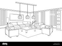 Living room view. Interior outline sketch. Furniture