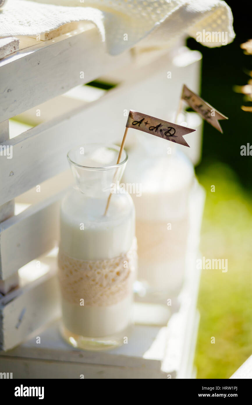 Milk Bottles For Decoration Milk In Glass Bottle With Decoration At The Village With Family