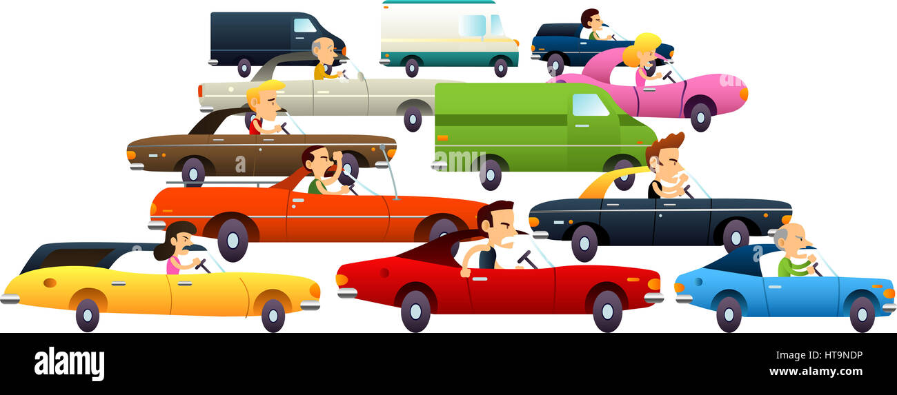 Traffic jam with cartoon cars and really angry and annoyed Stock