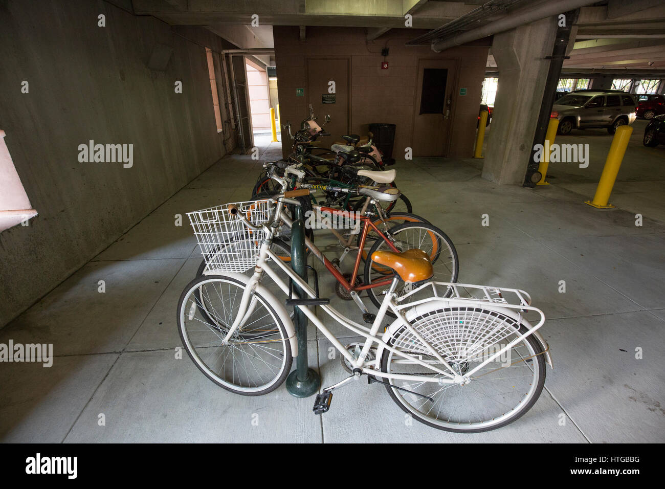 Parking Garage Bike Rack Bicycles Locked To Rack In Parking Garage Stock Photo 135584500