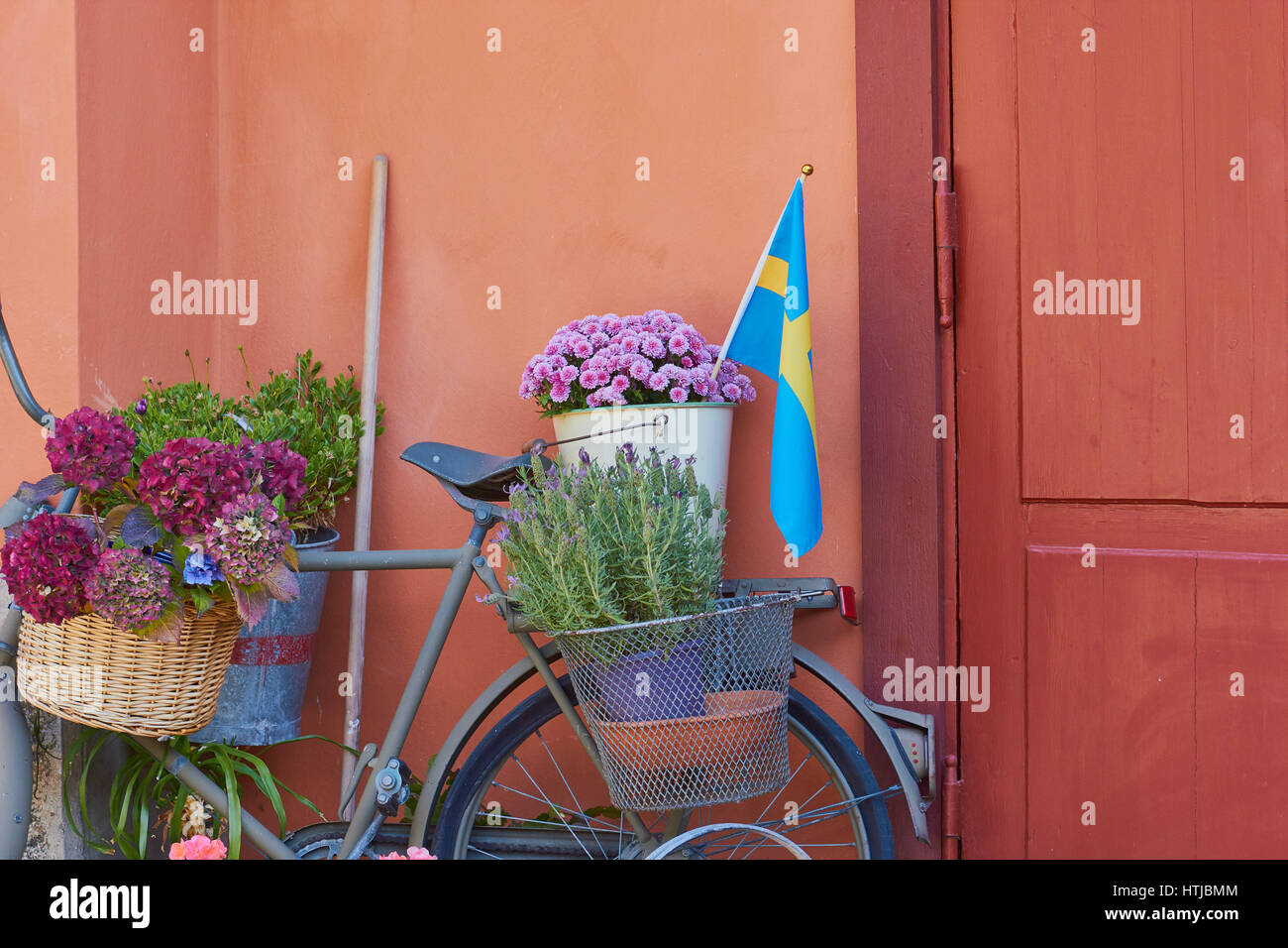 Swedish Decorating Flowers Plants And Swedish Flag Decorating Old Bicycle Sweden