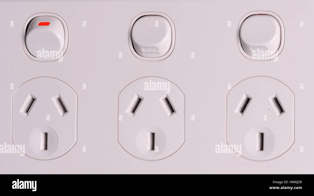 Australia Power Socket Three Fold Low Voltage Power Wall Outlets With One Switched On