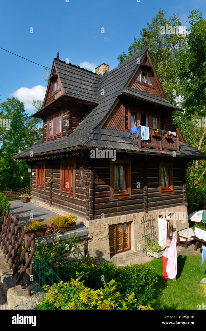 Massivholzhaus Polen Traditionelles Holzhaus Strazyska Zakopane Polen Stock Photo