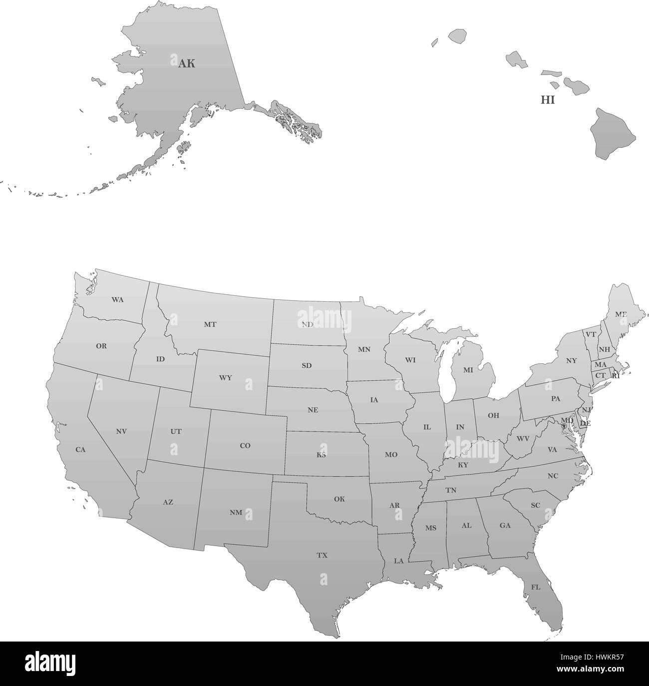 US States Two Letter Abbreviations Map Maps Of States Of USA - Map of the us with state abbreviations