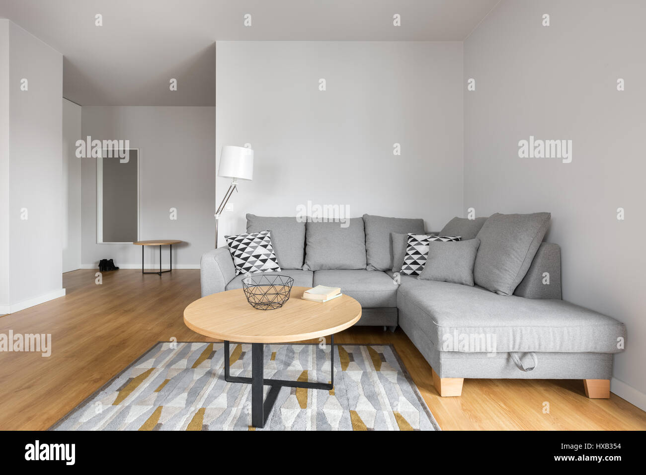 Living Room With Grey Sofa Modern Living Room With Grey Sofa With Decorative Pillows And