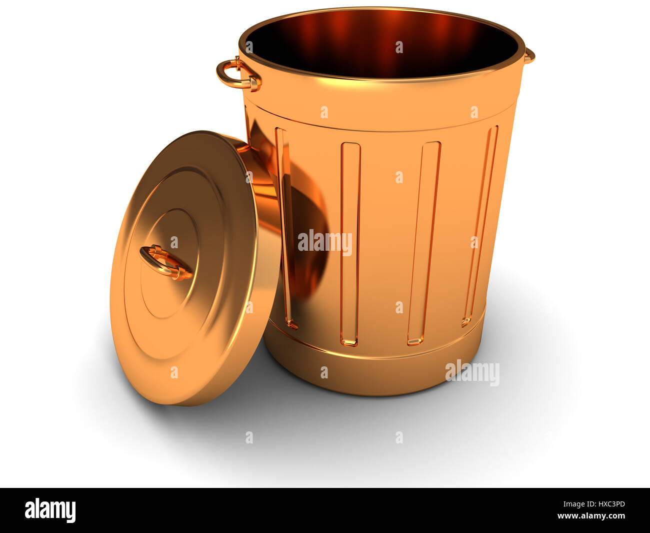 Copper Trash Can With Lid 3d Illustration Of Copper Trash Can Over White Background Stock