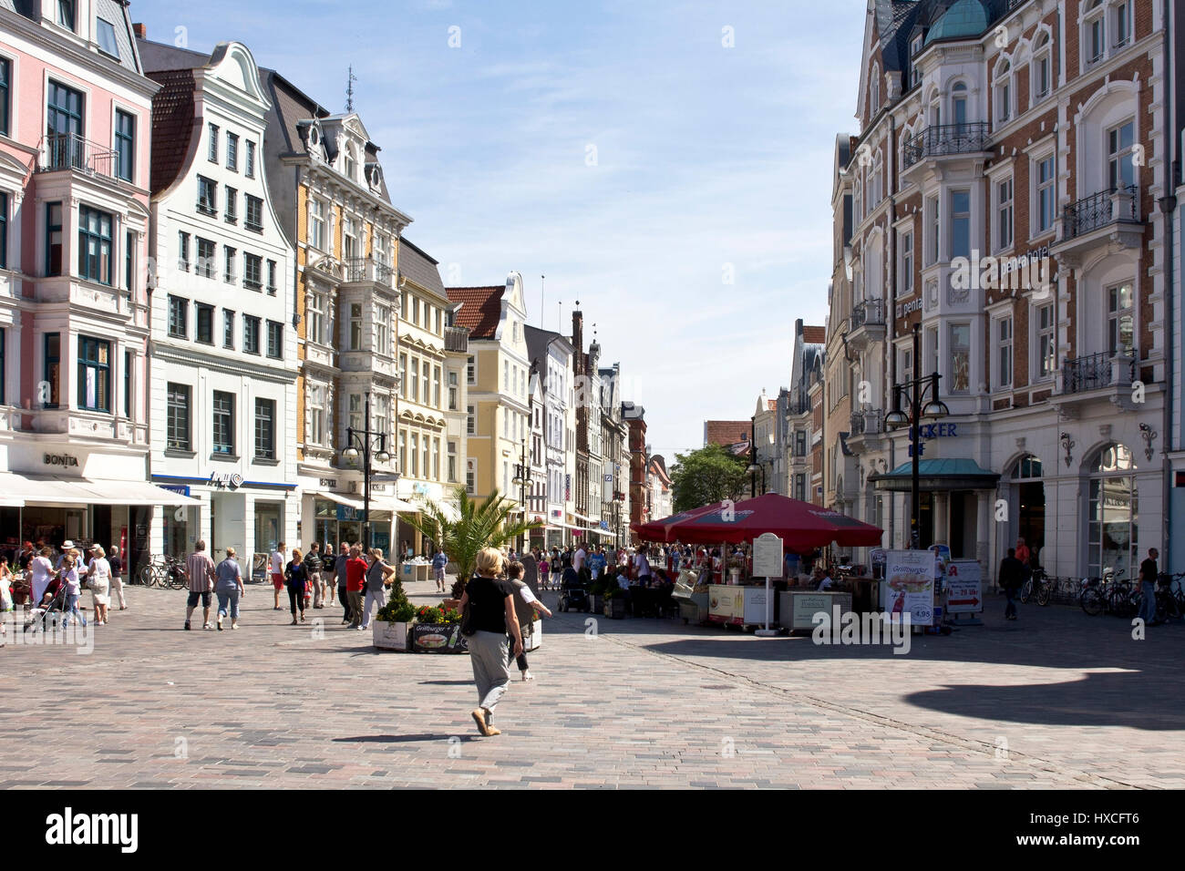 Rostock Shopping People Stroll In Summery Weather In The Shopping Streets Of