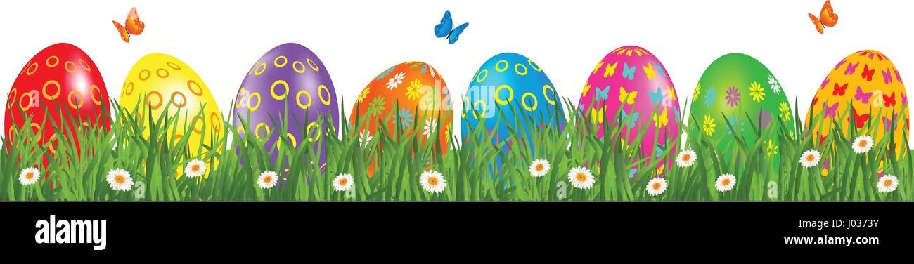 Easter eggs border with multicolored eggs in a grass with daisy and