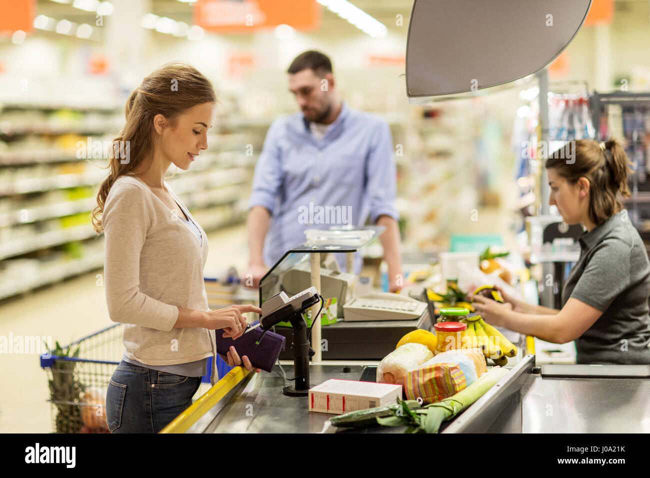 Buy Cash Register Woman Buying Food At Grocery Store Cash Register Stock