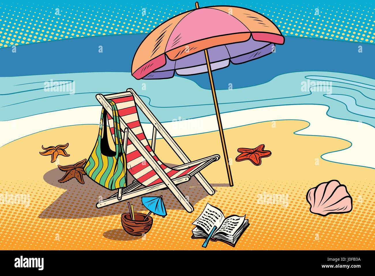 Beach Lounger And Sun Umbrella Rest On The Sea And