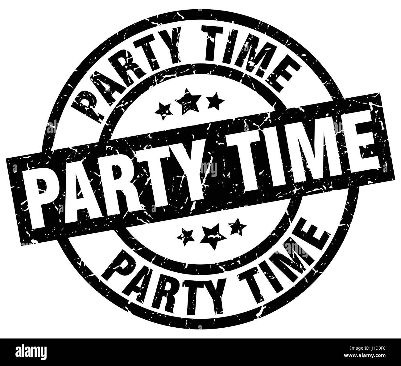 Party Time Party Time Round Grunge Black Stamp Stock Vector Art