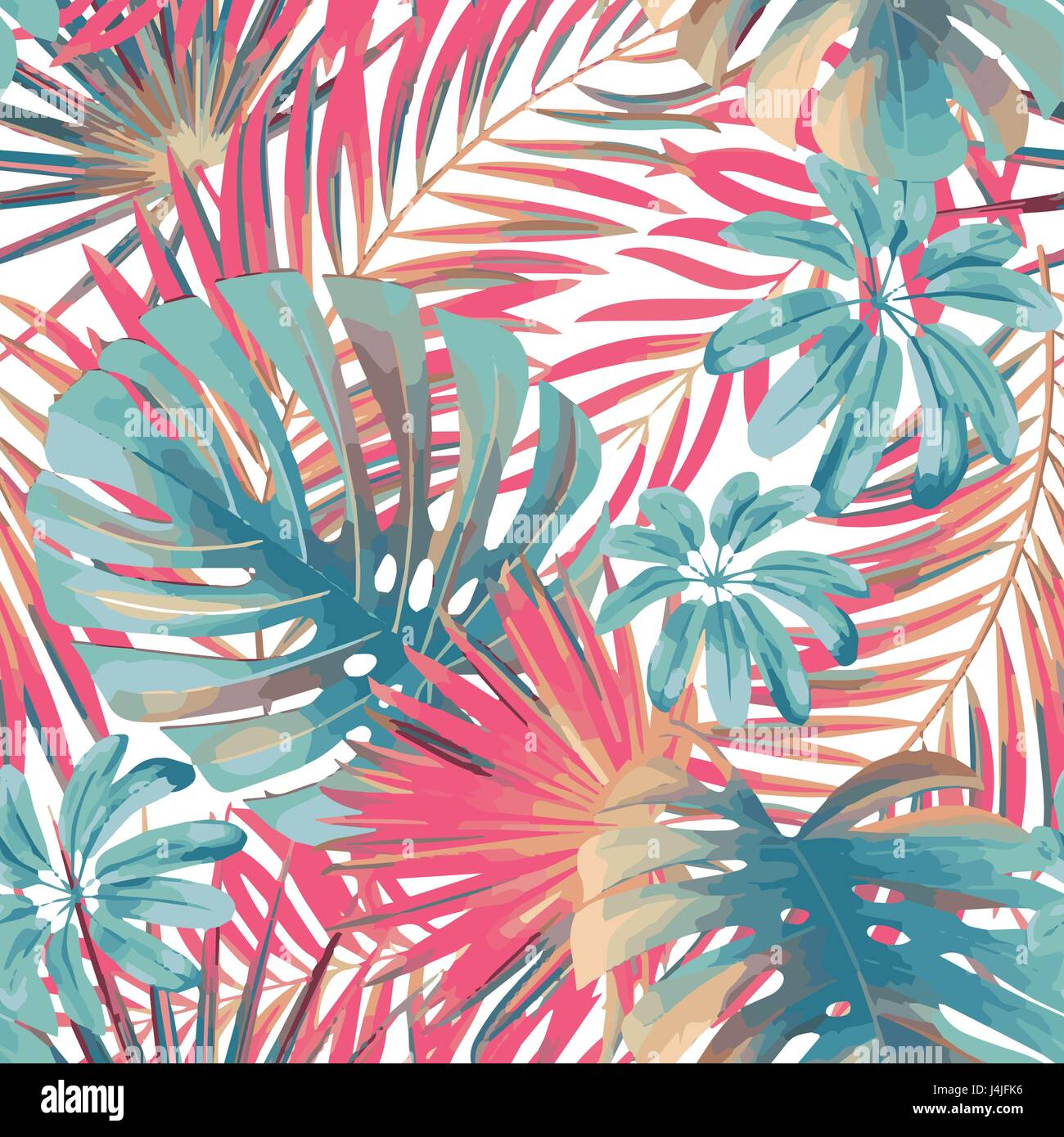 Cute Mandala Wallpapers Summer Exotic Floral Tropical Palm Monstera Leaves In