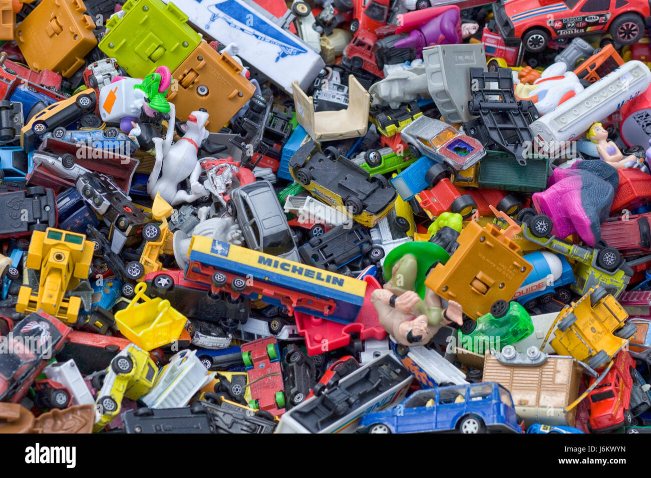 Toy Box Toys Toy Cars And Plastic Toys In A Toy Box Stock Photo
