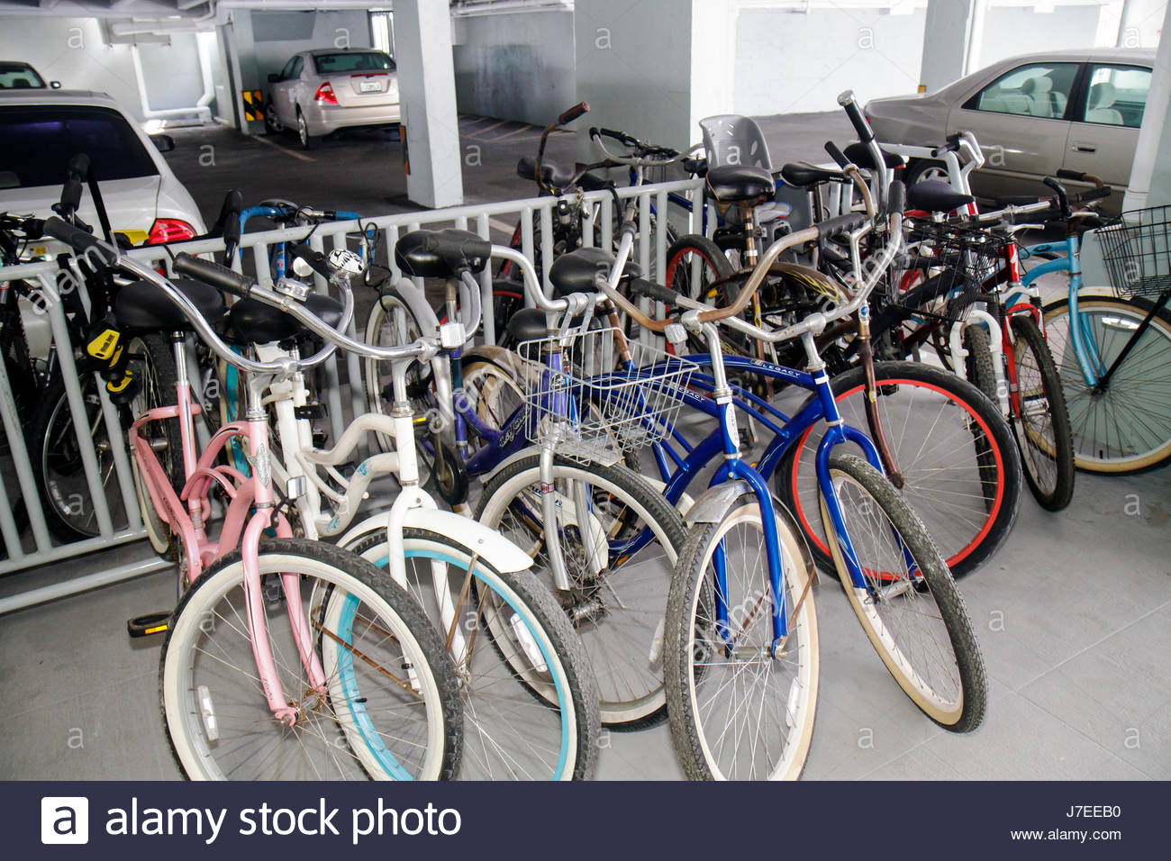 Parking Garage Bike Rack Miami Beach Florida The Presidential Condominium Building Bicycles