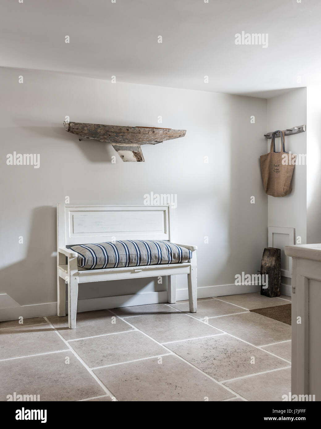 Strong White Farrow And Ball A Driftwood Boat On Wall Above Antique Bench With Ticking