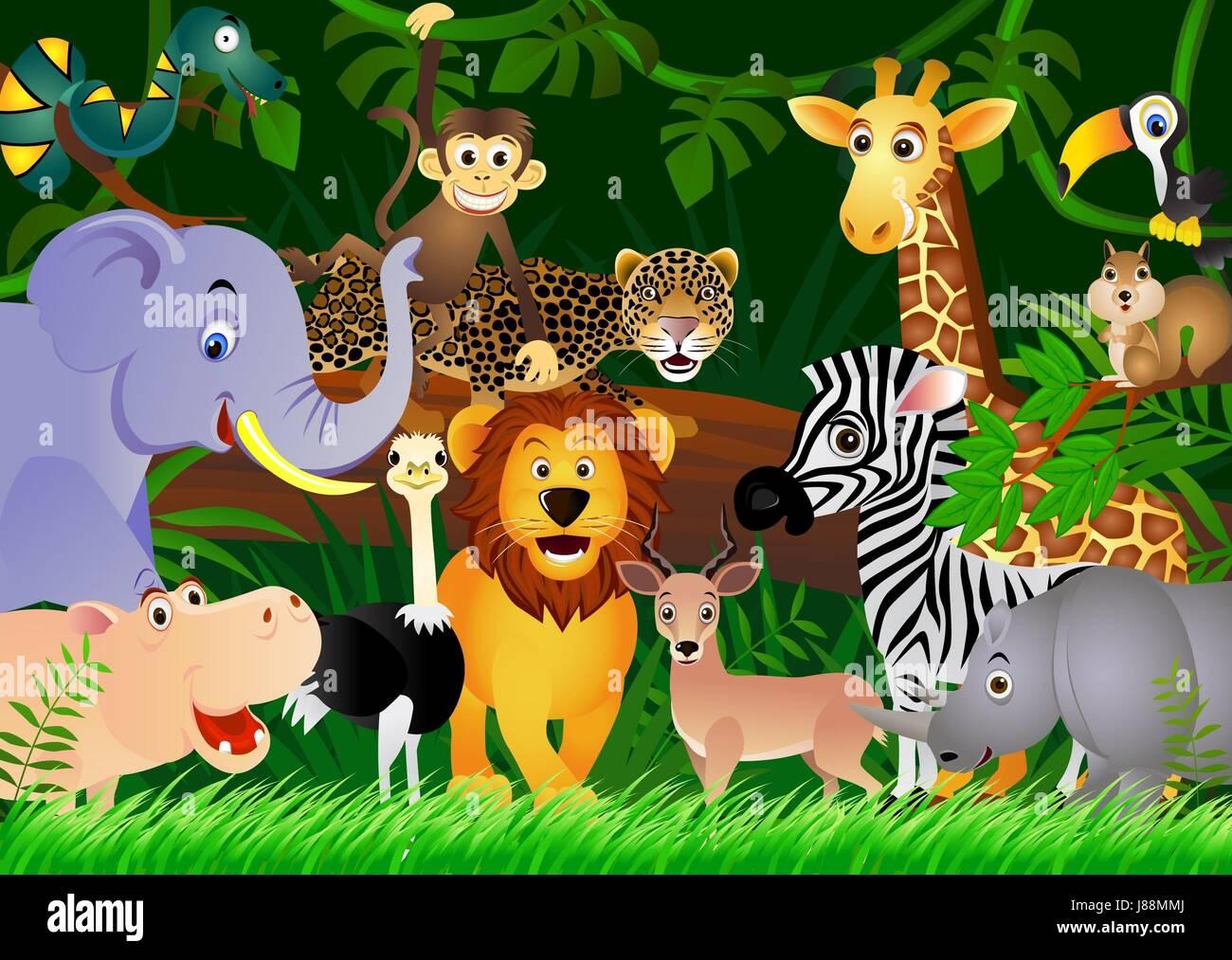 Safari Animal Wallpaper Animal Africa Jungle Illustration Safari Cartoon