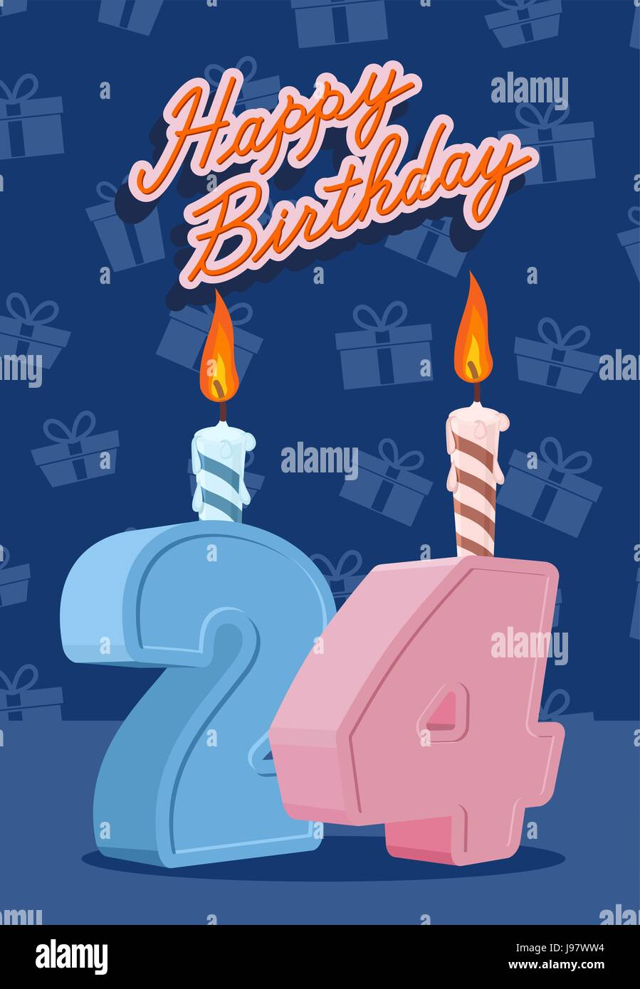 Happy Birthday Card With 24th Birthday Vector Illustration Stock Vector Image Art Alamy