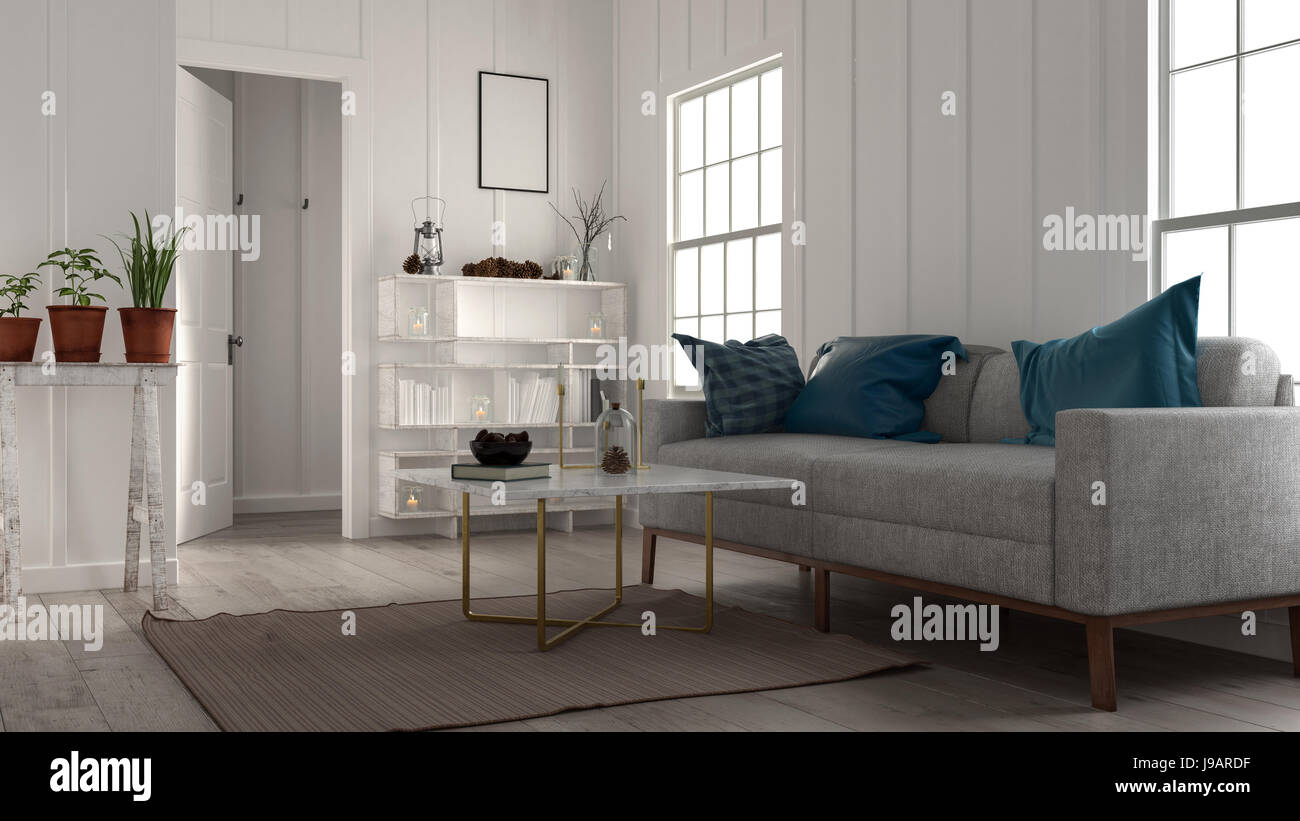 Small Cozy Living Room With Large Sofa Bookcase Coffee Table And Stock Photo Alamy