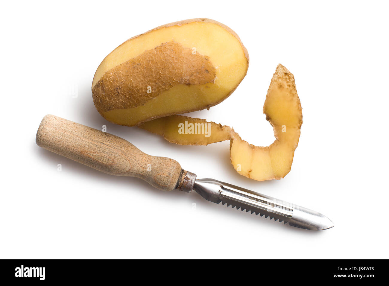 Potato Peeler Peeled Potato With Old Potato Peeler On White Background Stock