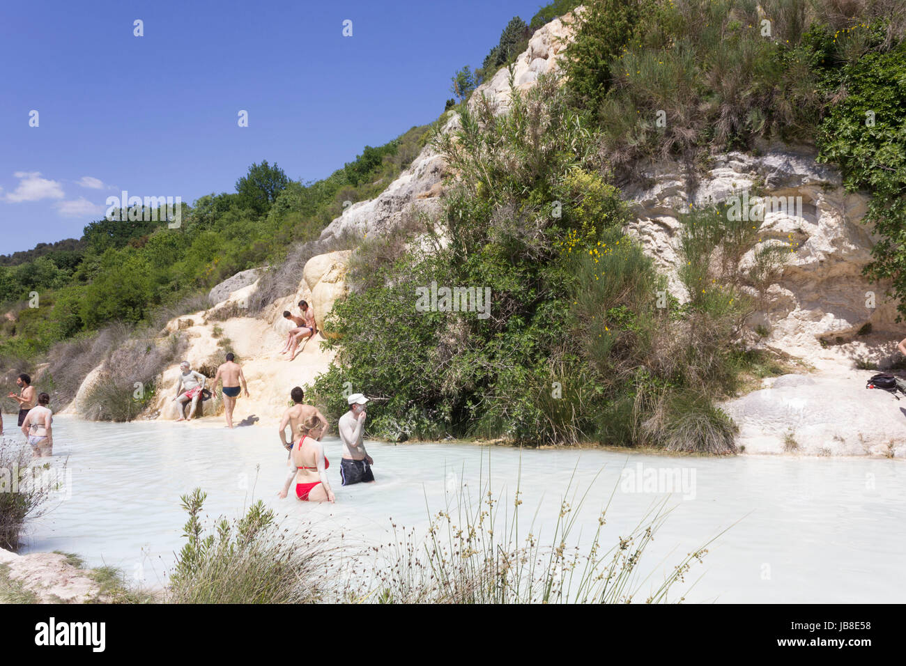 Bagno Vignoni Free Thermal Baths Bagno Vignoni Italy June 3 2017 People Bathing In The Free
