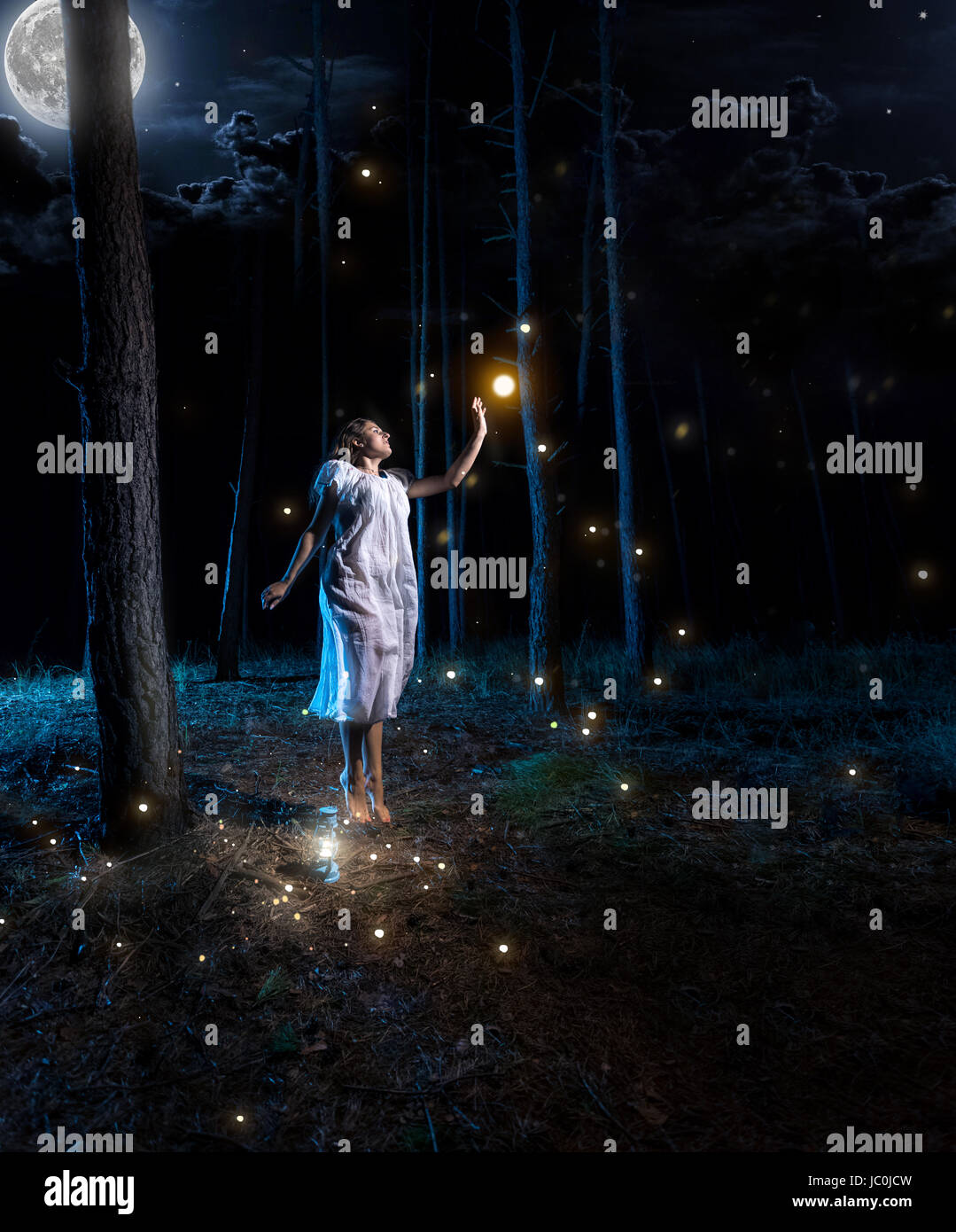 Evening Wallpaper With Quotes Lost Young Woman At Night Forest With Full Moon Jumping