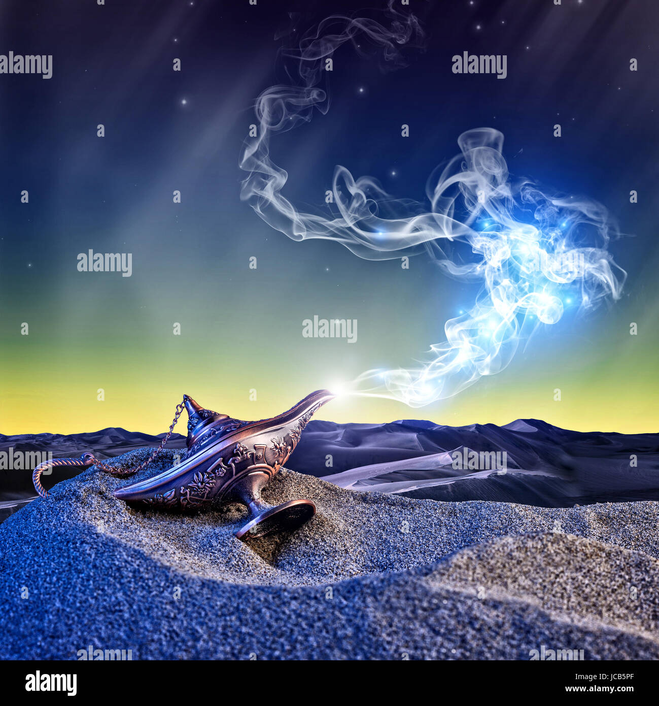 Musical Aladdin Fliegender Teppich Classic Aladdin Magic Lamp In The Desert Night Scene Stock