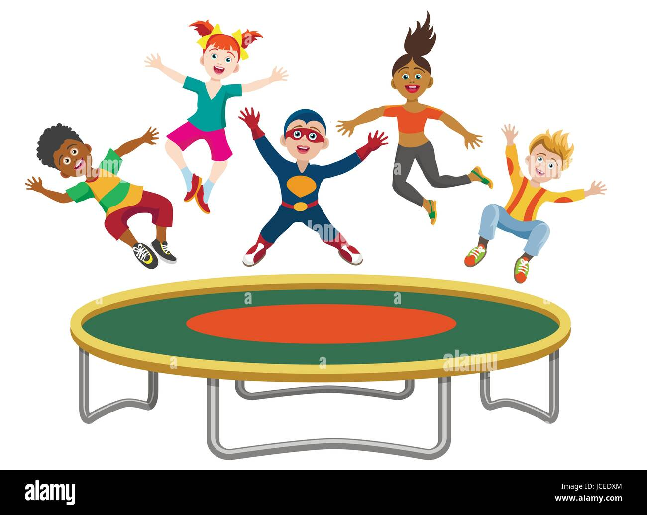 Tappeto Elastico Energetics Energetic Kids Jumping On Trampoline Isolated On White