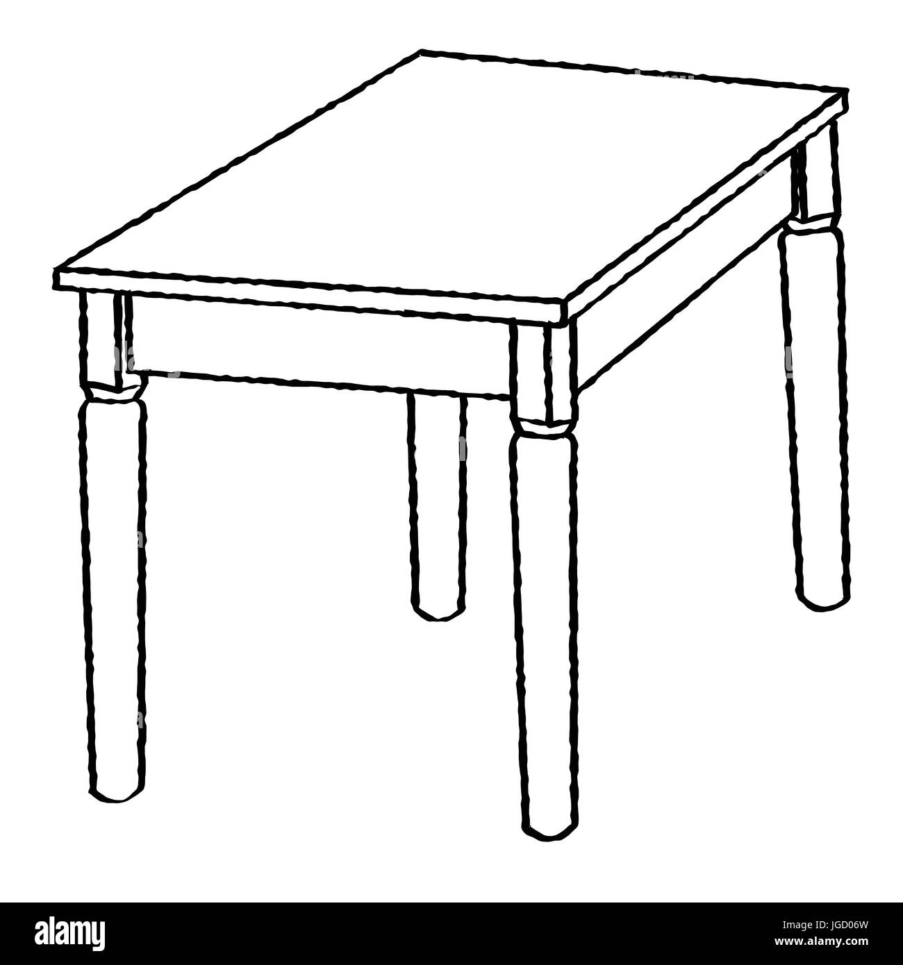 Dibujos De Mesas Para Colorear Hand Drawn Sketch Of Table Isolated Black And White