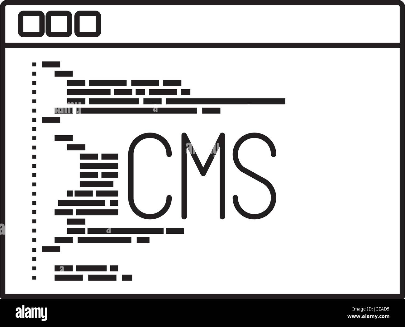 Cms Script Monochrome Silhouette Of Programming Window With Script Code Cms