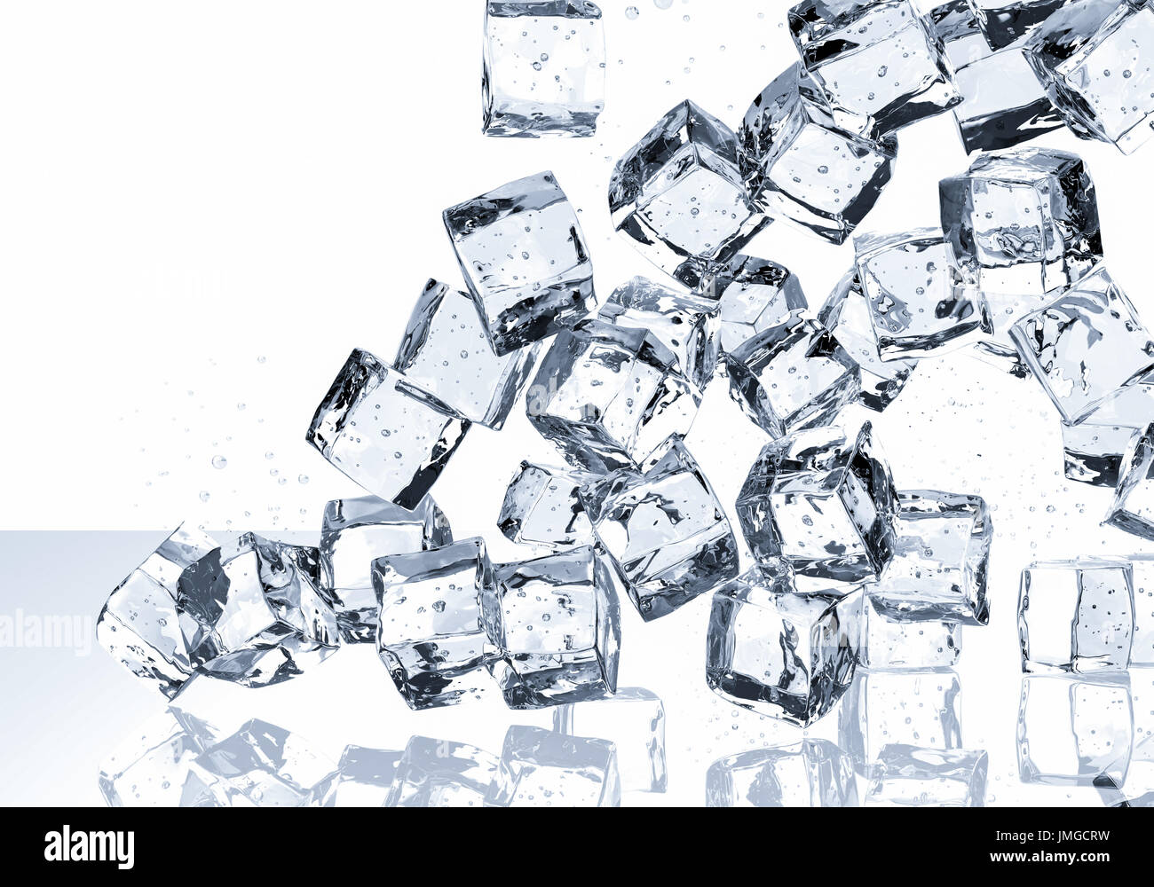 3d Rendering Ice Cubes Falling On White Background Stock