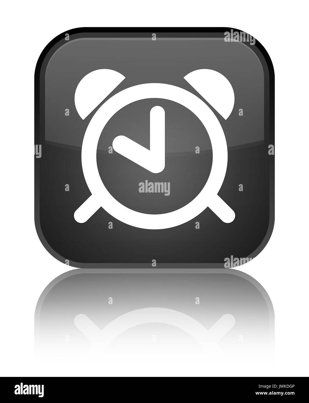 Special Clock Alarm Clock Icon Isolated On Special Black Square Button Reflected