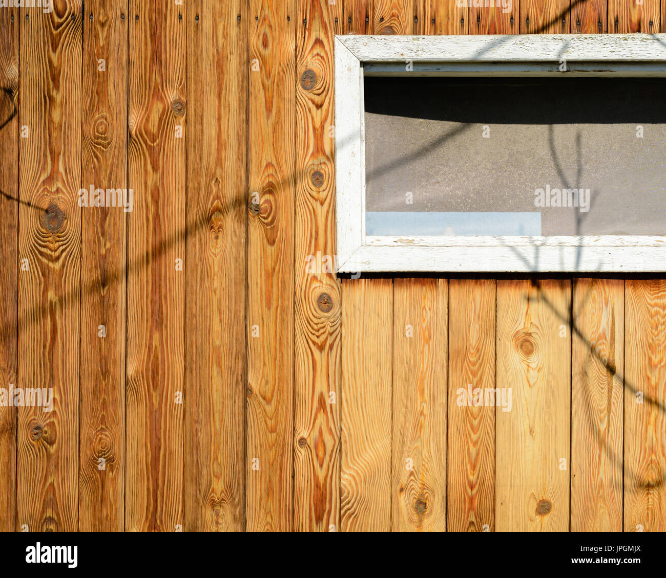 Vertical Wood Slat Wall The Wall Of An Old Wooden House Made Of Thin Vertical Slats Stock