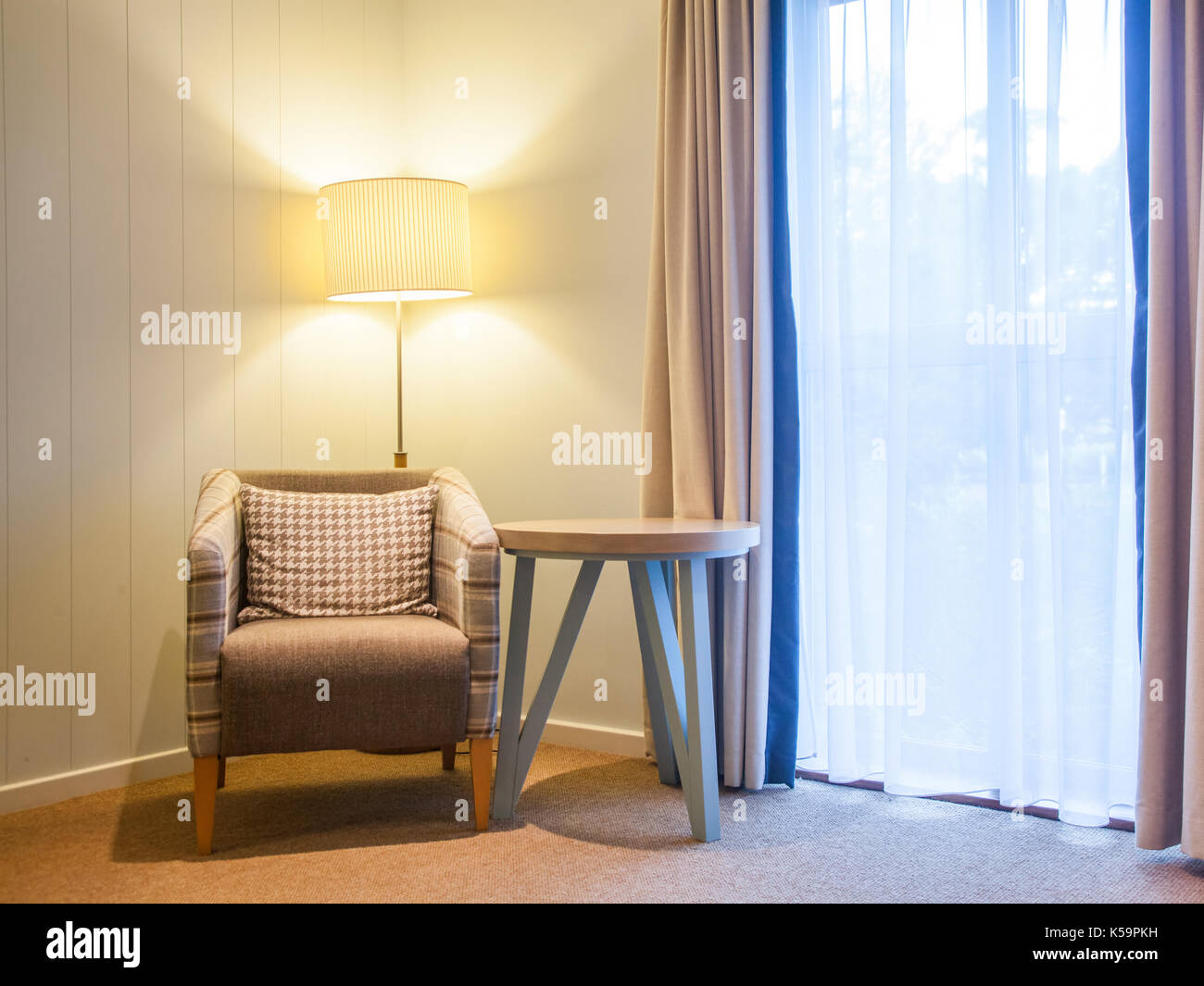 Chairs For Reading Corner Chair And Lamp By The Window Cozy Reading Corner Stock Photo