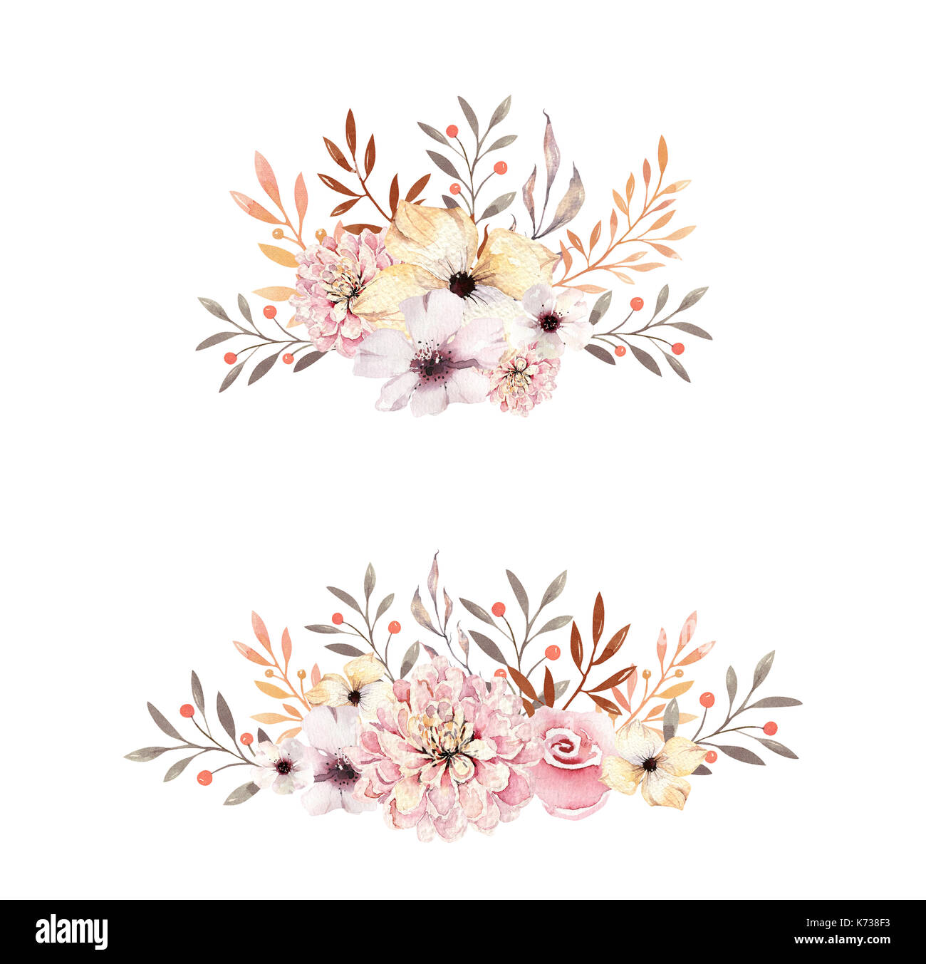 Falling Leaves In Water Live Wallpaper Set Of Watercolor Boho Floral Bouquets Watercolour
