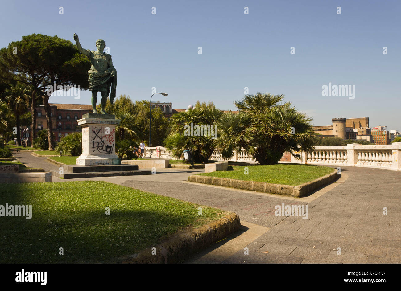 Welcome Statues Garden Naples Italy August 10 2014 Statue Of Cesario Console On The