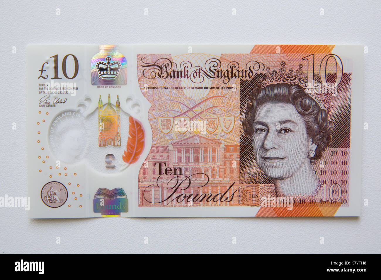 10 Libras Esterlinas Image Of The New Plastic Ten Pound Sterling Note Stock