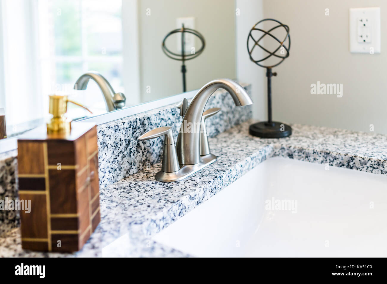 Closeup Of Modern Bathroom Sink With Granite Countertop Mirror Soap Stock Photo Alamy