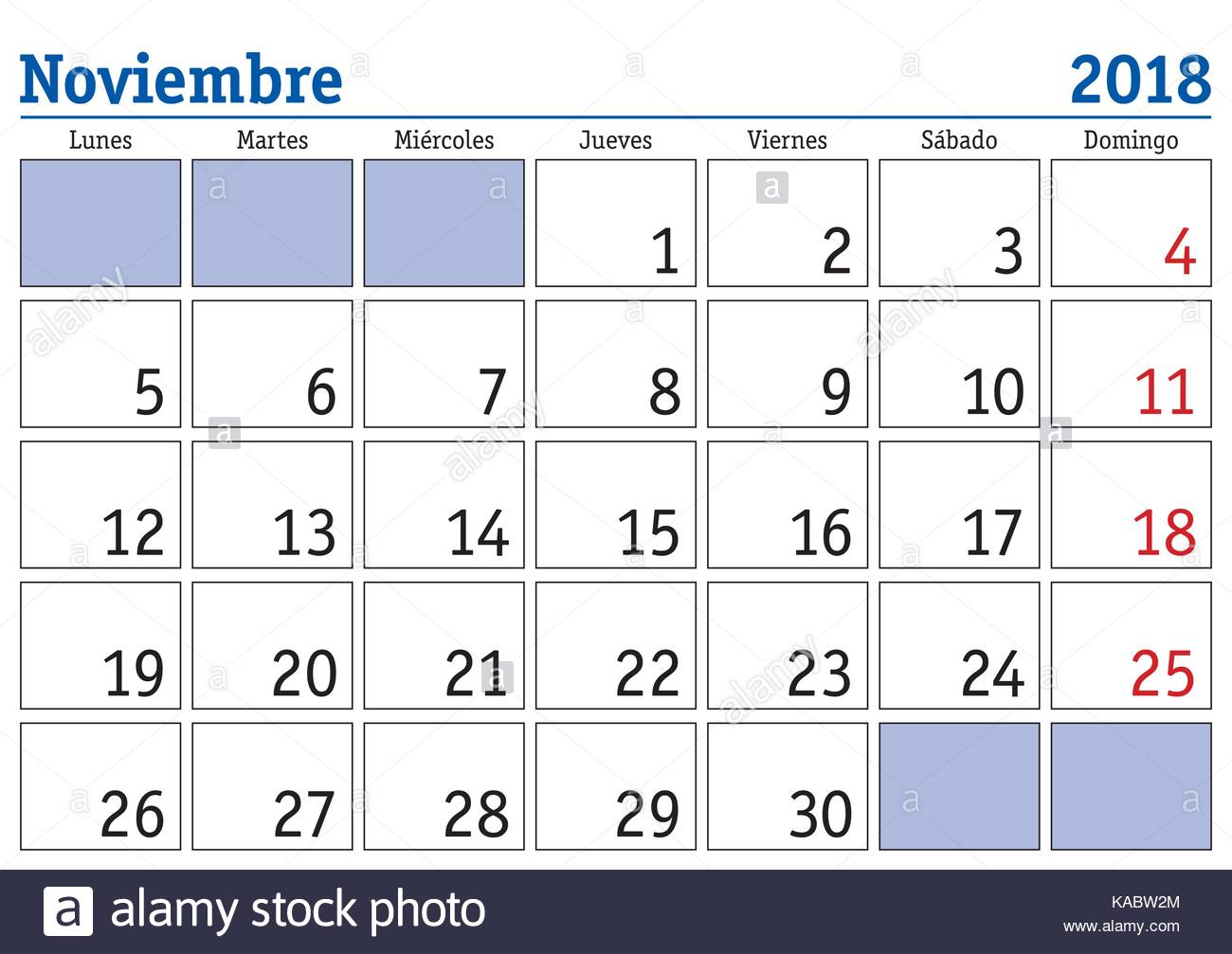 Calendario Mes De Octubre 2017 November Month In A Year 2018 Wall Calendar In Spanish