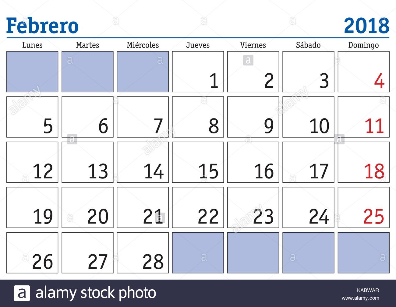 Calendario Del Mes De Febrero February Month In A Year 2018 Wall Calendar In Spanish Febrero