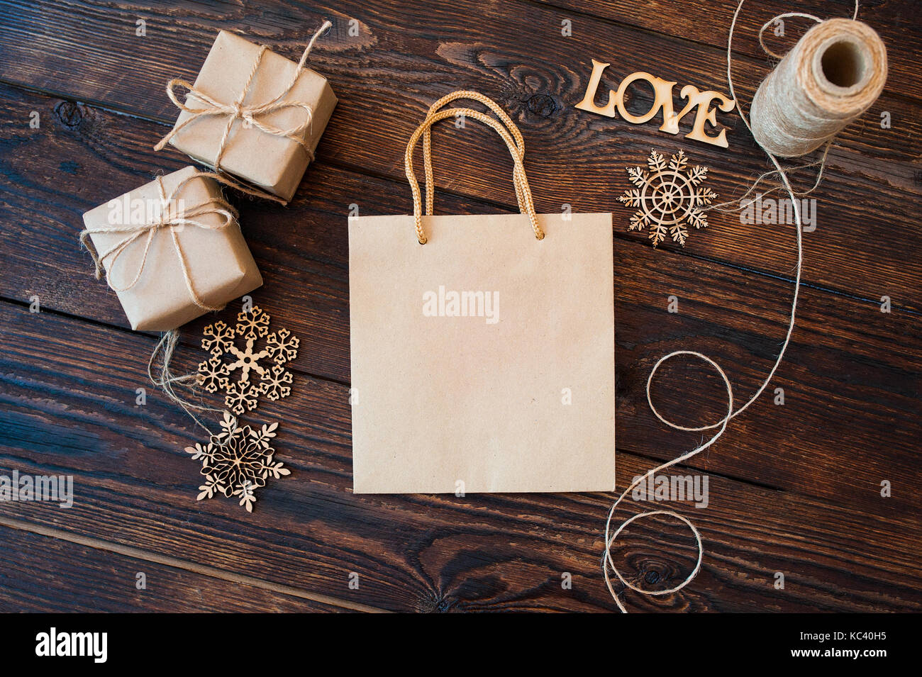 Id Card Rope Mockup Mockup Paper Bag From Kraft Paper And Christmas Gift Boxes