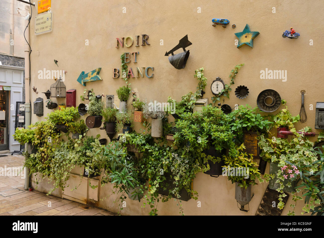 Provence Decoration Container Garden And Decoration On A House Wall Stock Photo