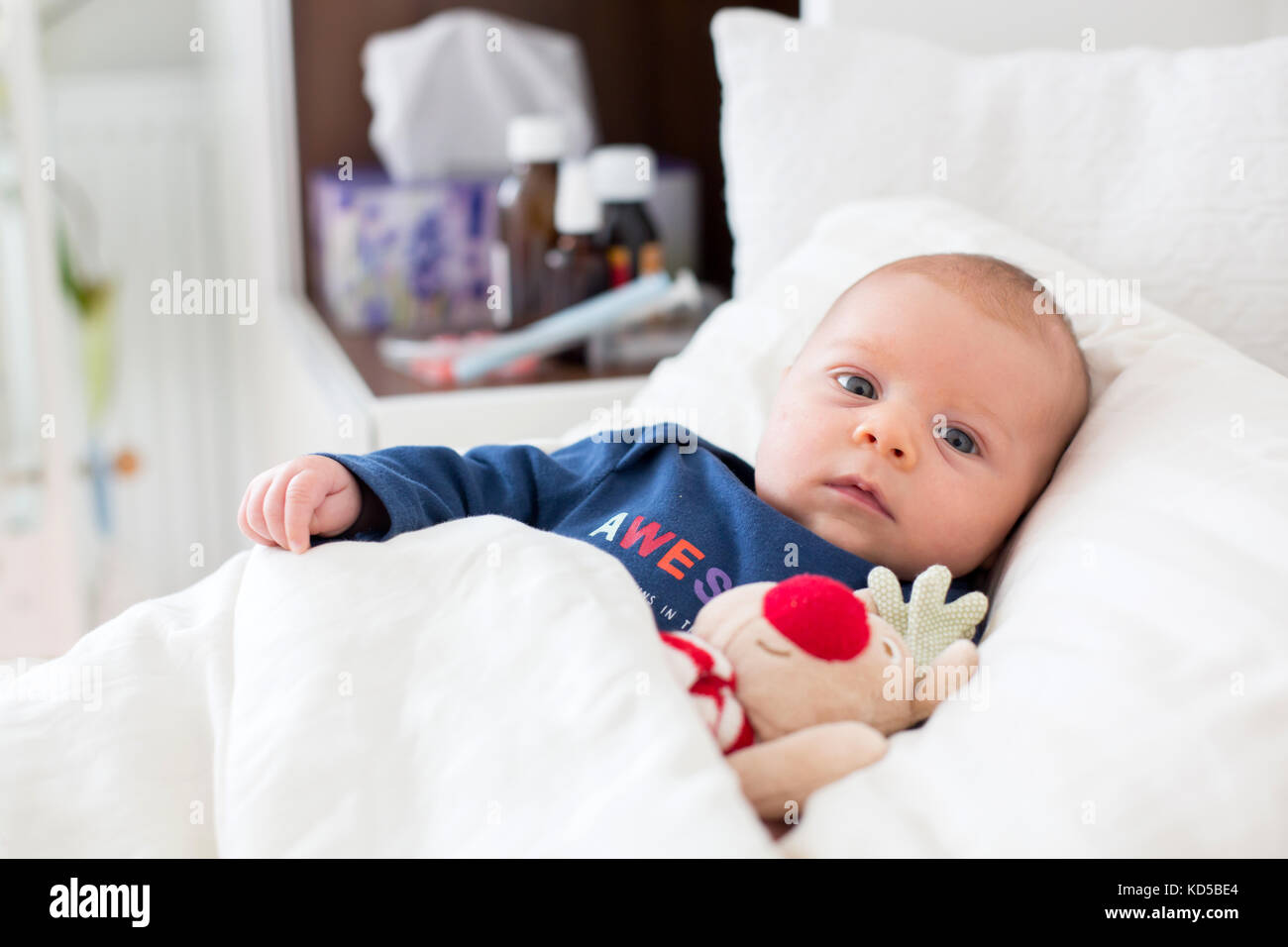 Newborn Infant With Fever Cute Newborn Baby Boy Lying In Bed With Cold And Fever