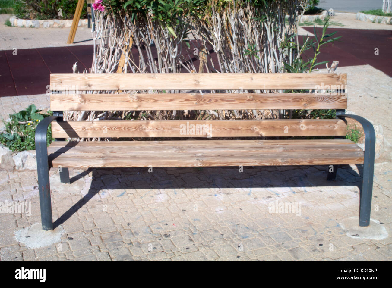 Wooden Park Benches Front Wooden Bench At Park View In Front Stock Photo 163016162
