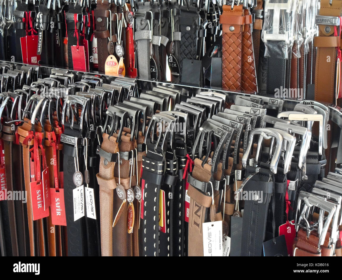 Leather Shop A Shop Display Of Mens Leather And Plastic Trouser Belts Icmeler