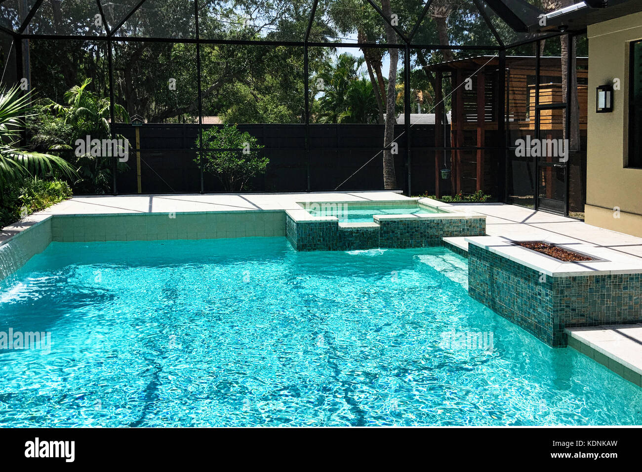 Jacuzzi In The Pool Swimming Pool With Jacuzzi And Waterfall At A Luxury Home In Stock